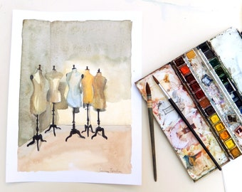 Vintage mannequin original watercolor