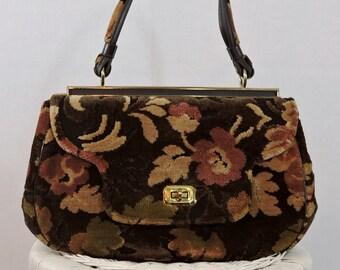 Vintage Chenille Tapestry Handbag Rich Floral Print