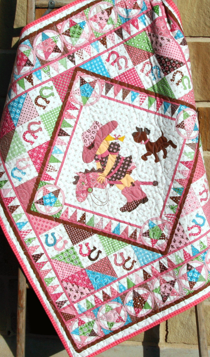 Cowgirl Quilt Western Bandana Girl Blanket By