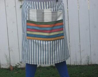 Sky blue Bistro half apron, heavy canvas,3 large pockets, bistro, gardener, teacher