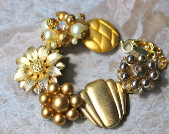 Wedding Bracelet, Bridesmaid Gift, Vintage Earring Bracelet, Cluster, Gold, Flower, Pearl, Jennifer Jones, Under 40, OOAK - Wedding Day