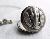 Elephant Locket ... Silver Vintage Peanut Necklace Pendant