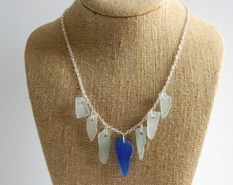 Blue Sea Glass Fringe Necklace - Chesapeake Bay Seaglass Jewelry, Authentic Beach Glass Statement Necklace