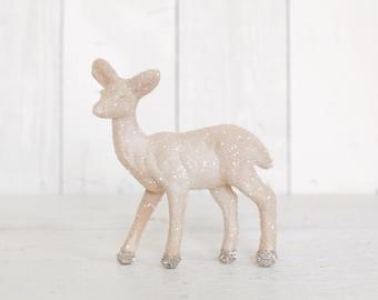 Christmas Deer - Almond Cream Glittered Plastic Deer Decoration