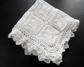SALE PRICE Vintage French Hand Crocheted Bed Coverlet in Intricate Lacy Pattern