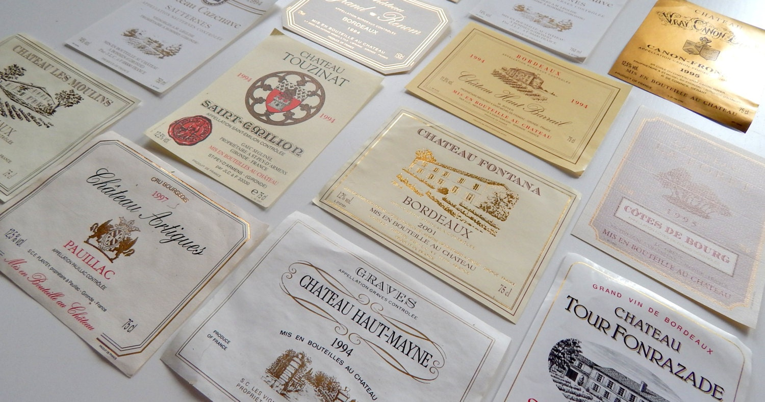 15 Vintage French Wine Labels Not Reprints by ...