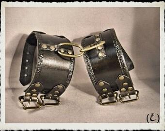 Black leather hand cuffs bracelets