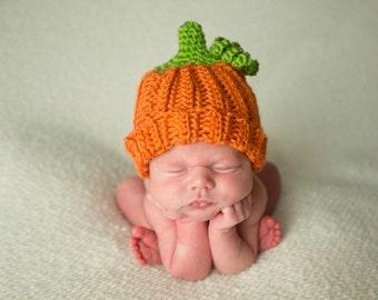 Orange Pumpkin Hat with Stem, Halloween Costume, Fall Hats, Thanksgiving, Newborn Photo Prop, Jack-O-Lantern Hat, Harvest, Fruit Hats, Baby