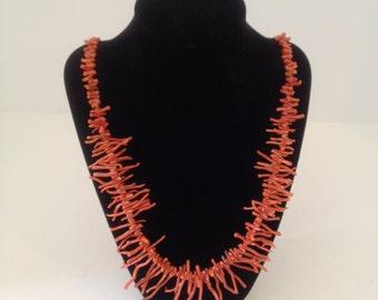 Vintage Italian Branch Coral Necklace 1940s Mediterranean Oxblood Red Coral