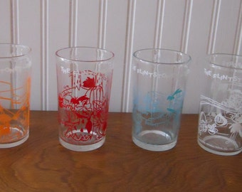 Vintage Flintstone Cartoon 1960s Hanna Barbera Fred Wilma Dino Barney Jelly Glass Tumbler Set of 4