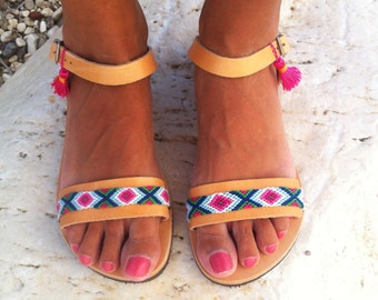 leather sandals with friendships, boho sandals