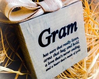Gram Sign , Wood Block , Sign App.6x6 in Choose Your Endearing Name Mimi Gigi Nana Gram Etc