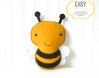 Bumblebee Sewing Pattern, Felt Bee Plushie Pattern, Bumble Bee Feltie, Honey Bee, Instant Download PDF