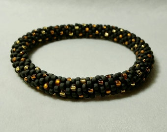 Black, Gold and Topaz Seed Bead Crochet Bangle - Ready to Ship