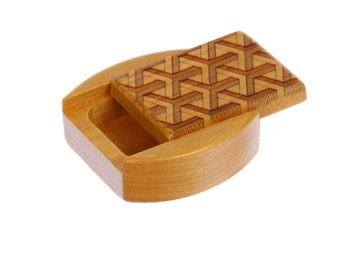 "DISCONTINUED - REDUCED PRICE Sliding Lid Storage Box, 1-3/4""L x 1-7/8""W x 3/4""D, Solid Cherry, Mini Slider, Paul Szewc"