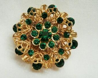 Layered Filigree Brooch with Green Rhinestones-Goldtone