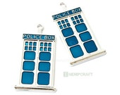 Large Police Box Pendants, 2pc Tardis Inspired Pendants, Large Metal Charms, 2 Inch (L), Limited Quantity