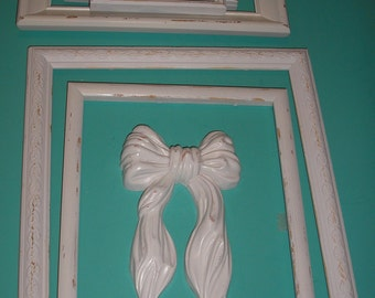 Cottage White Distressed Lot 7 Picture Frames