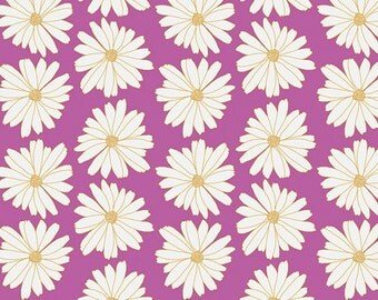Lilac Daisy Knit Fabric Anna Elise Daisies Lilac Scent by Art Gallery, by the half yard or yard