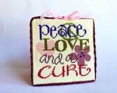 Cross Stitch Sampler, Finished Cross Stitch, Completed Cross Stitch, Cure for Cancer Cross Stitch, Home or Office Decor
