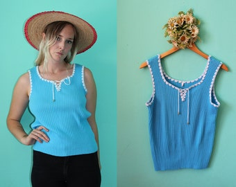 Vintage VTG VG 1960's 60's Blue and White Knit Tank Top Summer Women's Size 48 Large