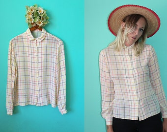Vintage VTG VG 1950's Checkered Silk Blouse Button Up Long Sleeved Cropped Women's Small Medium Sheer Retro Preppy Country Western