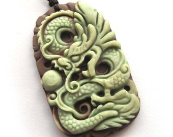 Two Layer Natural Stone Powerful Dragon Amulet Pendant 47mm*28mm  ZP076