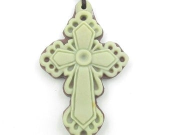 Two Layer Natural Stone Cross Style Pendant Fortune 48mm*30mm  ZP087