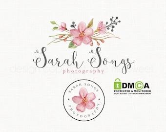 Flower Logo Watercolor Logo Watermark logo Design Logo Stamp Photography Logo Photographers Logo Bespoke Logo Floral Logo Design