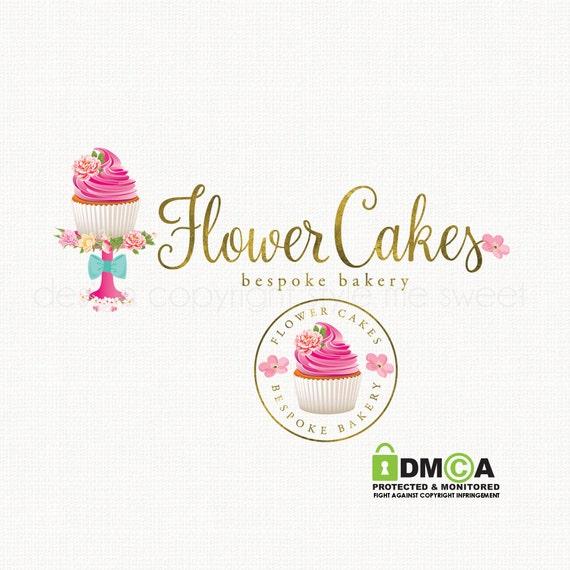 Cake Artist Logo : cupcake logo design cake stand logo watercolor flower logo