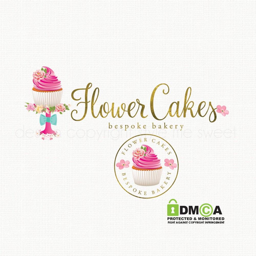 Design Your Own Cake Logo : cupcake logo design cake stand logo watercolor flower logo