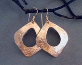 Hammered Bronze Earrings Abstract Textured Metal Earrings Artisan Handmade Modern Jewelry Eighth 8th Bronze Anniversary