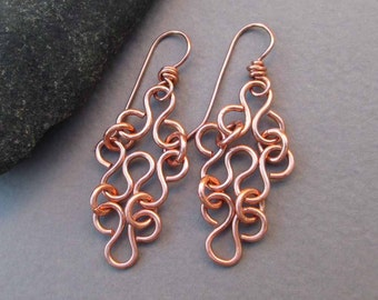 On Sale - Copper Filigree Earrings Metal Lace Dangle Earrings Artisan Handmade Modern Jewelry Seventh / 7th Anniversary Gift Jewelry