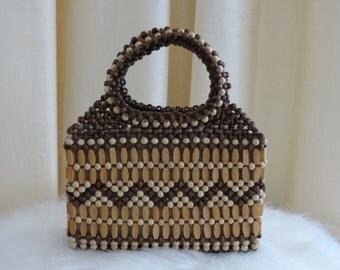 Vintage Brown and Tan Wooden Bead Handbag