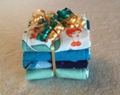 Under The Sea - Set of 4 Reversible Burp Cloths - Ready to Ship by PiquantDesigns