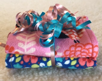 Ladybugs & Flowers - Set of 2 Reversible Burp Cloths - Ready to Ship by PiquantDesigns