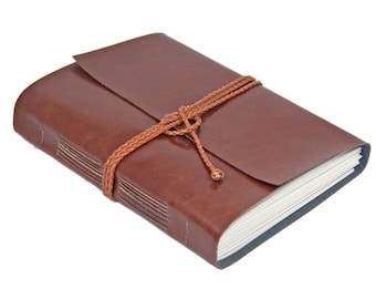 Large Faux Leather Vegan Journal - Choice of 7 Colors - Lined Paper - Hand Bound Journal - Travel Journal - Artist Journal - Vegan -