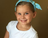 Boutique Baby Top Knot Baby Blue and Gold Polka Dot Headband Top knot Headband Baby Blue and Gold Turban Headband Twisted Knot Headband