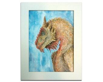 Ancient Dragon Painting - Original Mixed Media Mounted Artwork - Fantasy Art