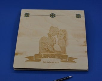 12X12 Engraved Wood Wedding Scrapbook or Photo Album Personalized by You