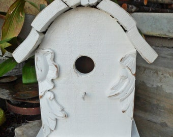 Handcrafted Shabby White Cottage Birdhouse