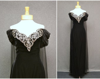 1980s Mike Benet Black Velvet Beaded Dress with Chiffon Train