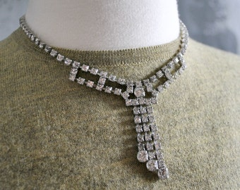 Vintage Rhinestone Choker in Silver Tones and White Stones; Rhinestone Choker; Vintage Costume Jewelry