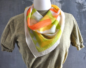 Yellow, Red, & White Square Scarf; Vintage Square Scarf; Geometric Print Square Scarf