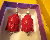 Terrific RED CORAL Resin Hand Carved Tibetan 3-D Buddha Head & Sterling Silver Vintage Pierced Dangle Earrings