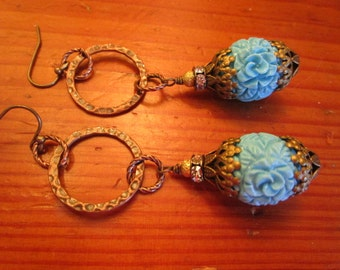 Great Handmade Floral CARVED TURQUOISE Glass w/Brass Filigree, Hammered Bronze & Rhinestones Vintage Dangle/Drop Pierced Earrings