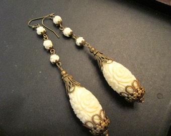 Bridal Beauty: Carved Glass Coral TEARDROP Dangle/Drop Vintage Pierced Earrings w/Elaborate Brass Filigree