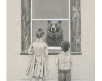 8x10 Illustration Print - 'Hide And Seek'