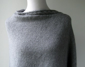 Gray Poncho - Hand Knit / Oversized