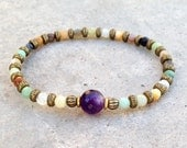 "Amazonite and Amethyst fine faceted ""communication and healing"" bracelet"
